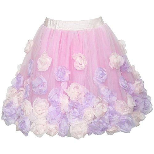 Mädchen Rock Rosa Rose Blume Tutu Tanzen Kleiden Gr. 116 (Blumen-rock Rose)