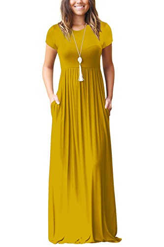 Measoul Women Short Sleeve Loose Plain Maxi Dress Casual Long Dress with Pockets