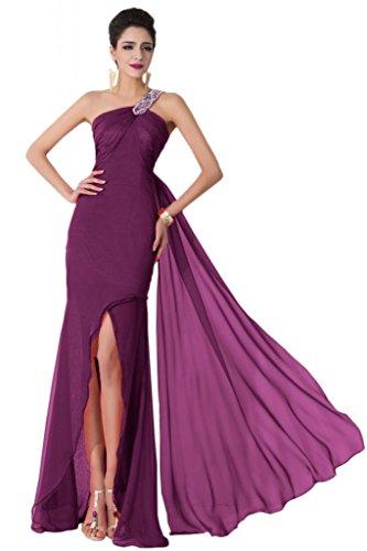 Sunvary uno Chiffon a spalla Fodero alto, per abiti da sera Pageant, per il 2015 Grape