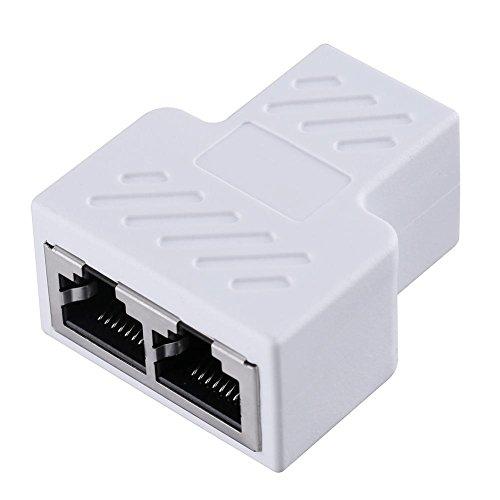 Splitter Adapter Ethernet Buchse Power Adapter Socket-Erweiterung RJ451bis 2Dual LAN für PCB Board Schweißen für iPhone iPad, Samsung, GPS, Dashcam, Radar Detektor und mehr weiß