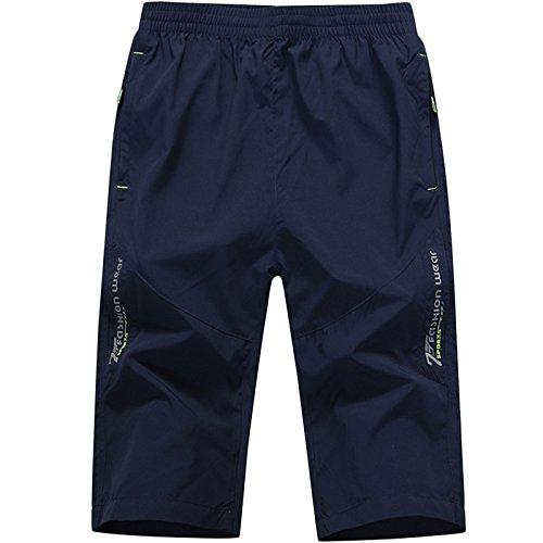 LEOCLOTHO Herren Sommer Shorts Sport Joggen und Training Fitness Atmungsaktiv 3/4 Kurze Hose Blau XXXL