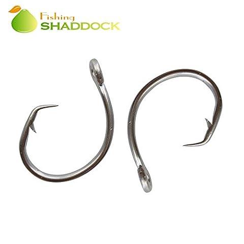 Shaddock Fishing ® 30pcs 39960 Stainless Steel Fishing Hooks White Thick Tuna Circle Bait Fishing Lures Hook Set For Saltwater&Freshwater Carp Coarse Fishing Size 8/0-15/0