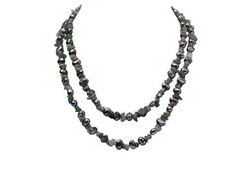 jyx Süßwasserperlen 6–7mm schwarz flach mit Grün Edelstein Chips Opera Halskette