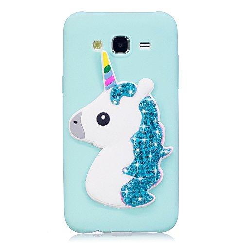 LuckyW Cover Samsung J5 2015 Glitter, TPU Silicone Unicorno Custodia per Samsung Galaxy J5 (2015) SM-J500F Brillantini Crystal Cristallo Glitter Luccichio Protettivo Cover,Blu