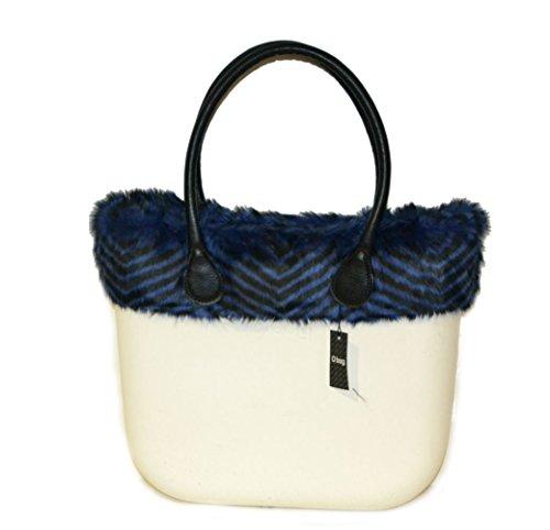 Borsa o bag grande bianca con bordo eco pelliccia blu e manici