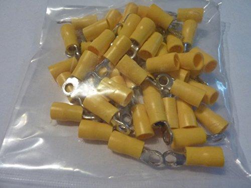 profitec 50 Stück Kabelschuh Ring M 4 gelb für Kabel 4,0 mm²- 6,0mm² (Ring Computer)
