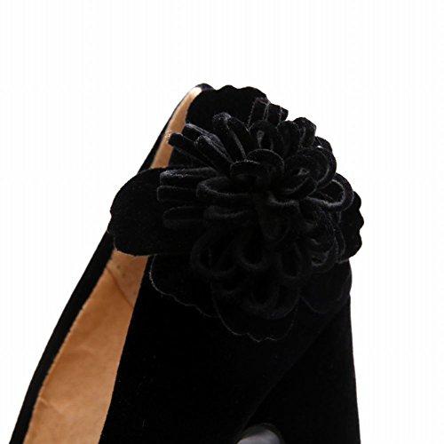 Mee Shoes Damen modern reizvoll Geschlossen runde mit Blümchen Nubukleder Blockabsatz Plateau Pumps mit hohen Absätzen Abendschuhe Schwarz