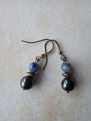 Boucles d'oreilles pendantes en pierres naturelles de magnétite et sodalite, perle tibétaine couleur bronze