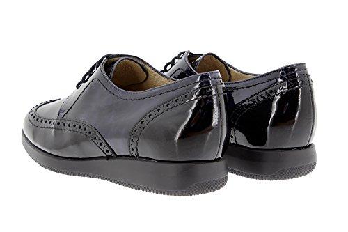 Chaussure femme confort en cuir Piesanto 9630 lacet confortables amples Negro-Gris-Marino