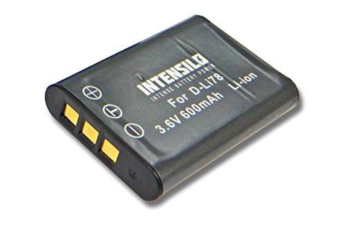 INTENSILO Li-Ion Akku 600mAh (3.6V) für Kamera Camcorder Video PENTAX Optio L50, M50, M60, S1, V20, W60, W80 wie D-Li78, EN-EL11, DB-80, Li-60B.