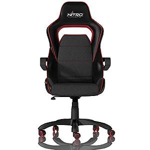 NITRO CONCEPTS E200 Race Silla de Juego – Oficina – Cuero sintético – Acolchado de espuma fría – 120 kg – Diseño de asiento de carreras – Negro/Rojo
