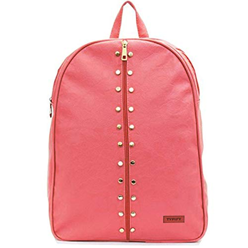 Typify Women's Artificial Leather Studded Backpack (Pink)