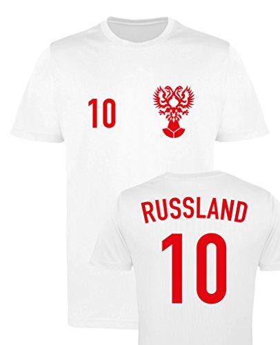 WM EM TRIKOT – RUSSLAND 10 – Herren T-Shirt – Weiss/Rot Gr. 3XL