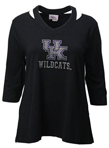 Nitro USA Damen NCAA Kentucky Wildcats Strass UK Split Neck Top, Damen, NCAA, schwarz -