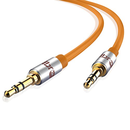 Aux Kabel [ 1m ] - IBRA Stereo Audio Klinkenkabel 1m - 3,5mm Klinken Stecker zu 3,5mm Klinken Stecker - für Kopfhörer, Apple iPhone iPod iPad, Heim/KFZ Stereoanlagen, Smartphones, MP3 Player und mehr - Orange