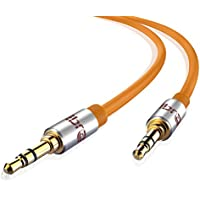 IBRA Cable de Audio Estéreo | 3,5mm Jack macho a 3,5mm macho | 3 Metro | Naranja | Para iPhone 6S Plus, 6,5, iPad, Smartphones, Tablets y Reproductores Multimedia