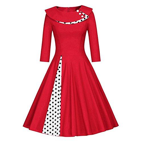 iBaste Chic Vestiti Vintage Donna Anni 50 Cocktail Risvolto Swing Abito Polka Dots Classico Rosso 2