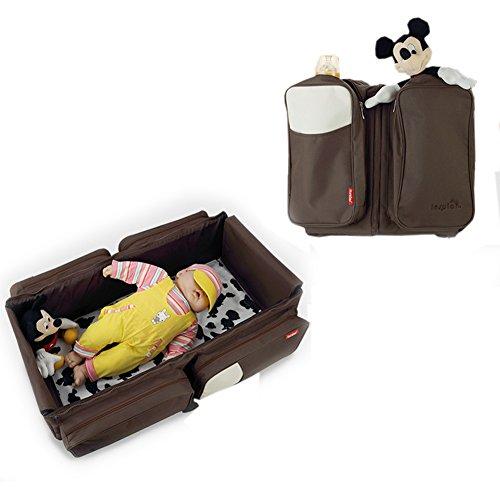 Fumee 3 in 1 Baby Wickeltaschen Reise Stubenwagen Windeltaschen tragbar Kinderbett Station, Tasche, Windeln Wickeltasche Infant Baby tragetasche Bett (Braun) (Baby-spiel-station)