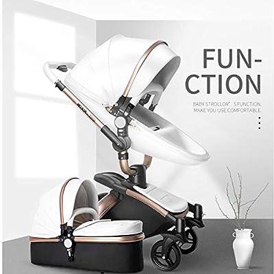 HXPH El Cochecito de bebé de Alto Paisaje, Plegable y bidireccional, para bebés, Puede Sentarse y Colocar un Carrito Ligero