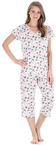 Sleepyheads Ensemble de Pyjama Femme Manches Courtes et Capri Coton Vêtement de Nuit (SHCJ1730-5048-XL)