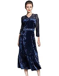 YiLianDa Vintage Donna Vestito Pizzo Velluto a Manica Lunga Abito da Sera 53120c051b1