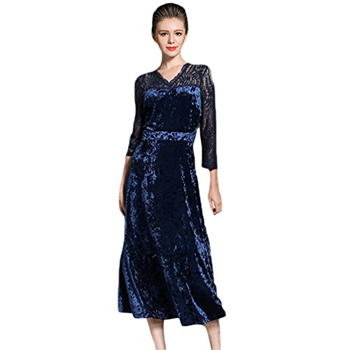 YiLianDa Vintage Donna Vestito Pizzo Velluto a Manica Lunga Abito Da Sera Blu