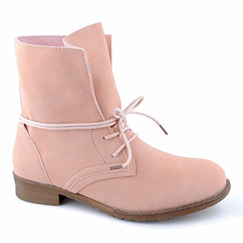 Damen Stiefeletten Stiefel Blockabsatz Schnür Biker Boots Freizeit Schuhe Hellpink-ungefüttert