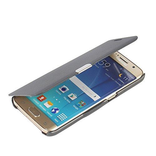 Samsung Galaxy S6 Edge Hülle, MTRONX Case Cover Schutzhülle Tasche Etui Klapphülle Magnetisch Dünn Leder Folio Flip für Samsung Galaxy S6 Edge - Grau(MG-GY) (Tasche Leder Edge)