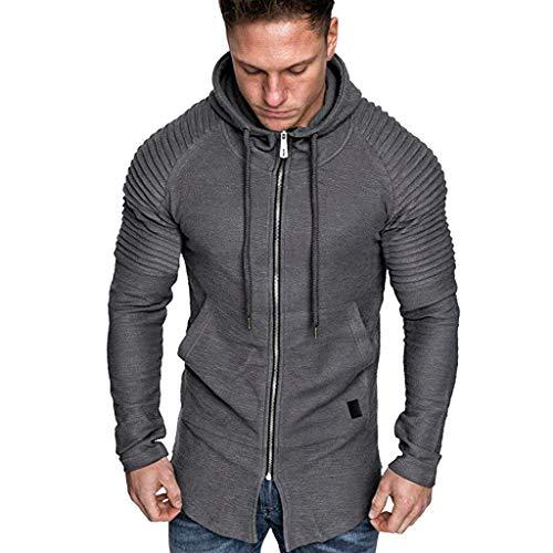 Xmiral Herren Sweatshirt Top Herbst Langarm Plaid Hoodie Mit Kapuze T-Shirt Outwear Streetwear Kapuzenpullover Outdoor Sportbekleidung(Z Grau,XL)