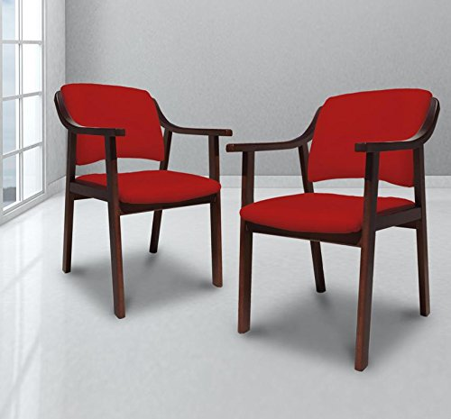 Sillones De Descanso (suenoszzz-sillón Sessel Altea. (2Stück) Holz Walnuss. Polsterdüse Kunstleder. ALTURA:85 CM. ANCHO:53 CM FONDO:55 CM rot)