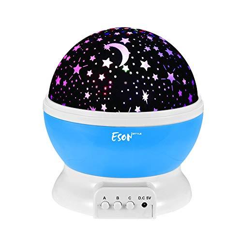 Esonstyle Wiederaufladbare 360 Grad Drehende Nachtlicht Projektor Baby Musical Mond und Himmel Licht mit 12Licht Musik für Baby Zimmer, Schlafzimmer, Kinderzimmer, Halloween, Weihnachten(Blau)