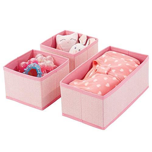 mDesign 3er-Set Aufbewahrungsbox - atmungsaktive Stoffbox mit Fischgrätmuster für Windeln, Lätzchen etc. - vielseitige Schubladen Organizer für das Kinderzimmer - pink