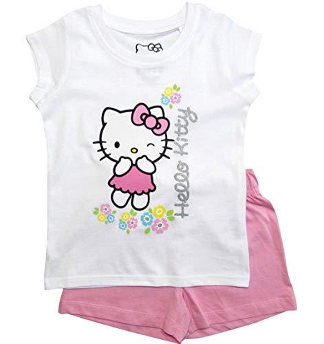 Hello Kitty Hose (Hello Kitty Schlafanzug Mädchen Shortie Pyjama Kurz (Weiß-Rosa, 104))