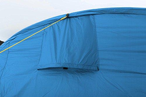 CampFeuer - Tunnelzelt mit 2 Schlafkabinen, blau/hellblau, 5000 mm Wassersäule, mit Bodenplane und versetzbarer Vorderwand - 5