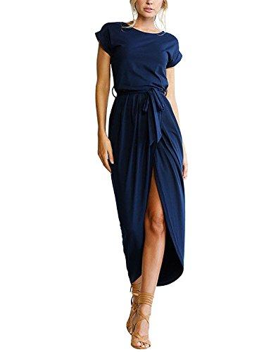 Yidarton Sommerkleid Damen Shirt Kleider Lang Strandkleid Beach Kleid Partykleid Elegant Maxikleid (M, Blau)