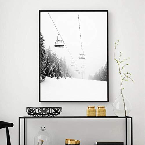 GUDOJK Impresión de la Lona Ski Mountain Print BlACK White Photography Wall Art Canvas Painting Picture Ski Lover Gift Poster Modern Nordic Home Decoration-70x100cm
