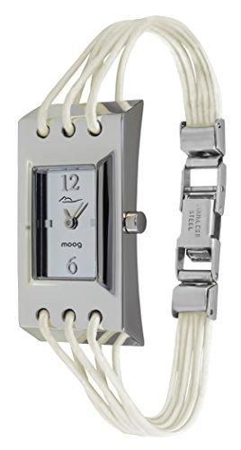 Moog Paris Filament Montre Femme avec Cadran Blanc, Bracelet Blanc en Cuir Véritable - M41452-105