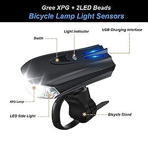 WOSTOO Luces Bicicleta, Luces Bicicleta Delantera y Trasera Linterna Bicicleta Recargable, IP65 Resistente con 5 Modes, Bocina y Luz para Carretera y Montaña