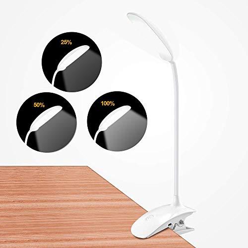 LED Klemmleuchte, Gogotool leselampe klemmen bett mit 3 Helligkeitsstufen, 360° flexibel Schwanenhals, 8W 18 LED USB aufladbare leselampe augenschutz zum Studieren und Arbeiten