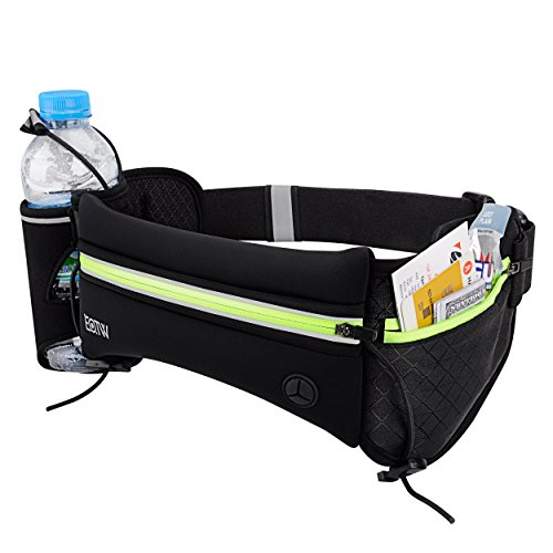 EOTW Hydration Running Belt Bum Bag with Water Bottle Holder Pocket,Adjustable Fitness Waist Bag Fanny Pack Workout Belt Pouch Carrying Cell Phones Keys Cards for Marathon Travel Holidays Camping Climbing Hiking Exercise - Suitable for Men and Women