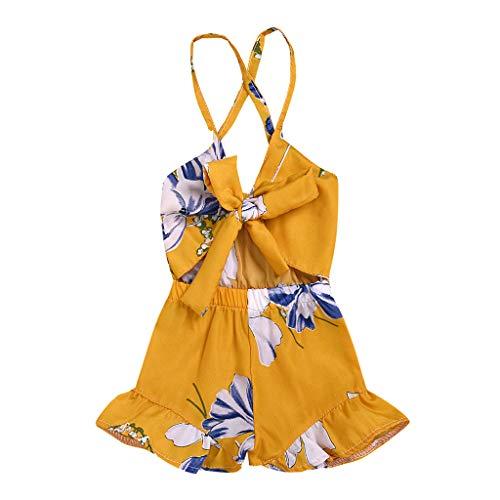 jerferr Baby Jumpsuit Blumendruck Gallus Bogen ärmellose Strampler Junpsuit Kleidung