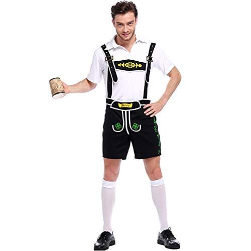 Herren Oktoberfest Kostüm Beer Bavarian Lederhosen Kostüm Komplett-Set, Hosenträgern Outfit mit Hemd--Deutsche Oktoberfest Kostüme Halloween Herren Uniformen