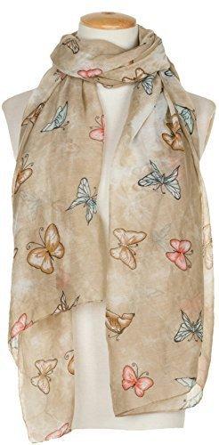 World of Shawls Femmes Imprimé Papillon Long écharpes, rose bébé/Gris Beige
