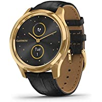 Garmin vívomove Luxe, Hybrid Smartwatch with Real Watch Hands and Hidden Color Touchscreen Displays, Gold with Black…
