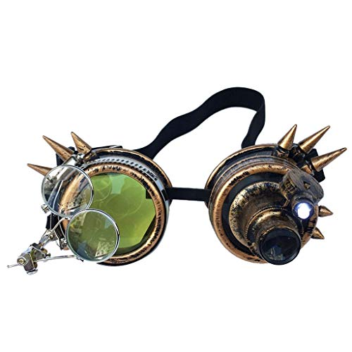 VRTUR Rivet Steampunk Winddicht Spiegel Weinlese-gotische Objektive Goggles Glasses Steampunk, Schweißer Brille, Party Accessoire, Kostüm, Karneval (One size,A)