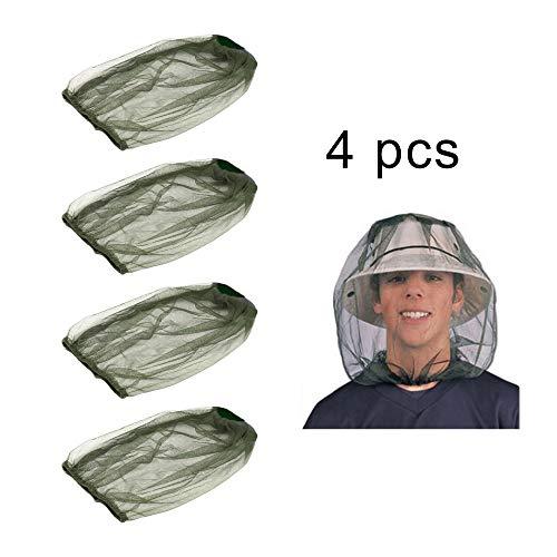 YMIQ 4 Stück Moskitonetz Gesicht Nackenschutz Anti Mücken Insekten Fliegengitter Maske für Reisen Camping Angeln Outdoor