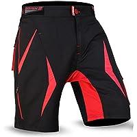 cortocircuitos de MTB a paso ligero, Coolamax acolchada y desmontable forro interior, Estilo libre del tamaño adulto (Black / Red 2001, L)
