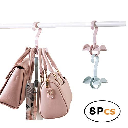 Platzsparend Stapelbar zum Aufhängen Closet Organizer für Handtaschen Handtaschen Krawatte 2Haken (Set von 8) -