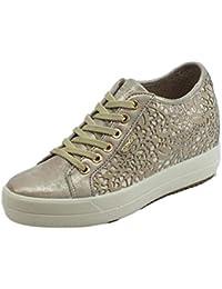 IGI CO Sneakers Donna in Pelle laserata nuvolato e perlata Taupe Zeppa  Interna 54adc77104f