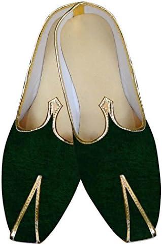 INMONARCH Mocasines de Boda Hombres de Terciopelo Verde Para el Novio MJ013015